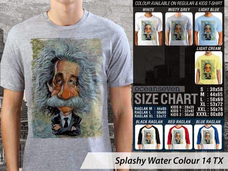 Kaos artwork keren Splashy Water Colour 14 Albert Einstein distro ocean seven