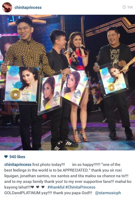 Kim Chiu receives gold, platinum awards for Chinita Princess album