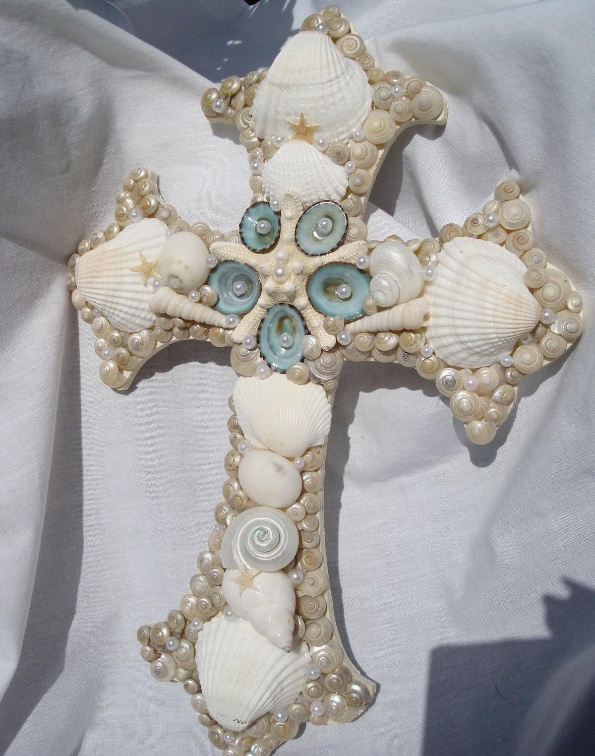 Seashell Cross Wall Art Inspirational Gift Beach Wedding Decor
