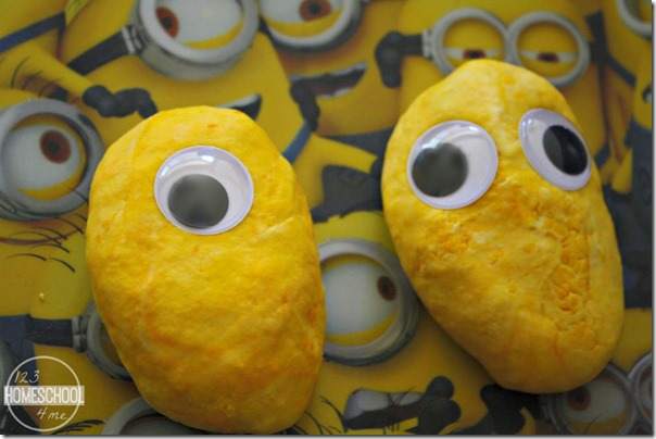First make a minion shape out of your electric dough using googly eyes