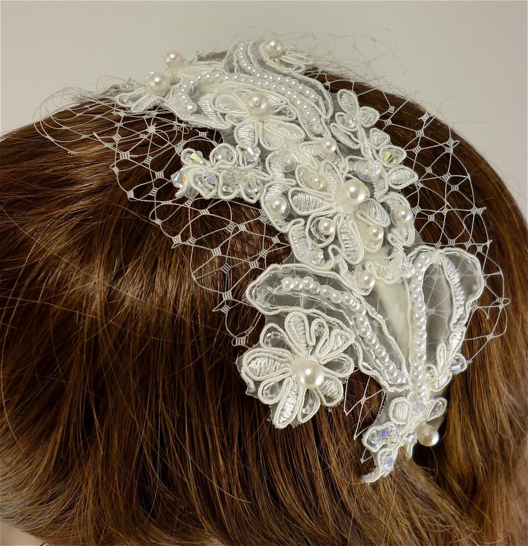 Vintage Style Ivory Lace Headband, Bridal Headband, Bridal Tiara,