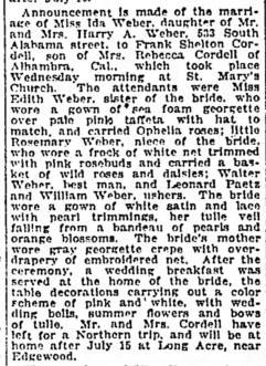 Weber, Ida, Marriage news, Indianapolis Star, Sun, Jul 3, 1921
