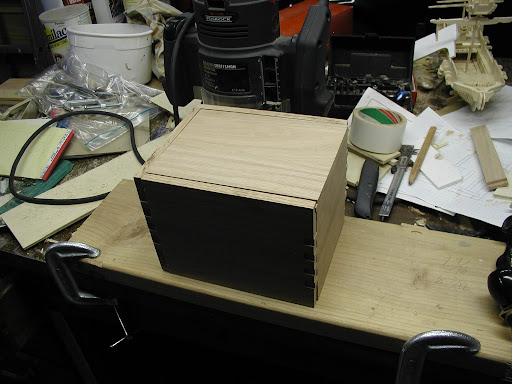 Box with lid in place.  Some detail work left to do.  Time to sand!