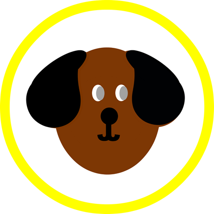 Dog Party Round - Yellow