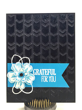Linda Vich Creates: New Floor and Grateful For You. Dry and wet embossed card sports a banner punched with the Triple Banner Punch. A swirl of twine and a layered flower completes this simple but effective card.