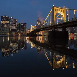 Pittsburgh by Diane Beatty - City,  Street & Park  Skylines ( skyline, pittsburgh, blue hour, reflections, cityscape )
