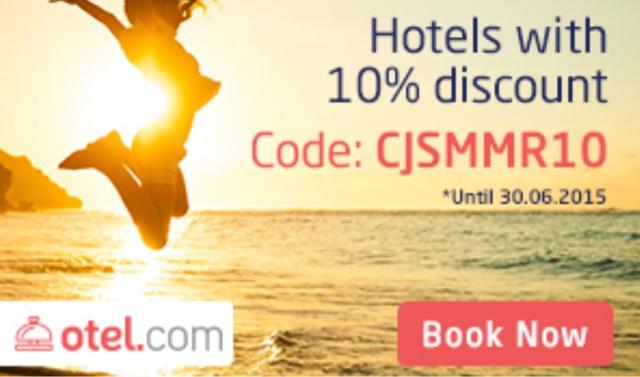 Otel .com 最新9折優惠碼 Discount Code,有效至2015年6月30日。