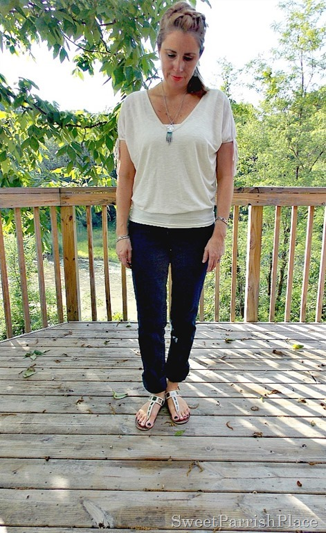 Cream lace back shirt, jeans, cream sandals3