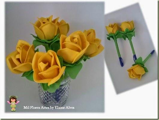Caneta Rosa Amarela