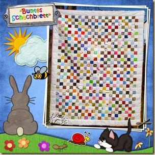 Quilt202-buntes Schachbrett
