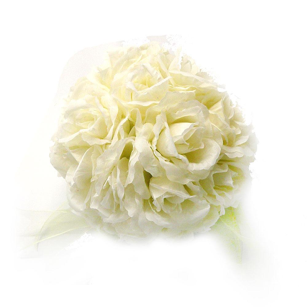 Ivory Silk Rose Kissing Ball