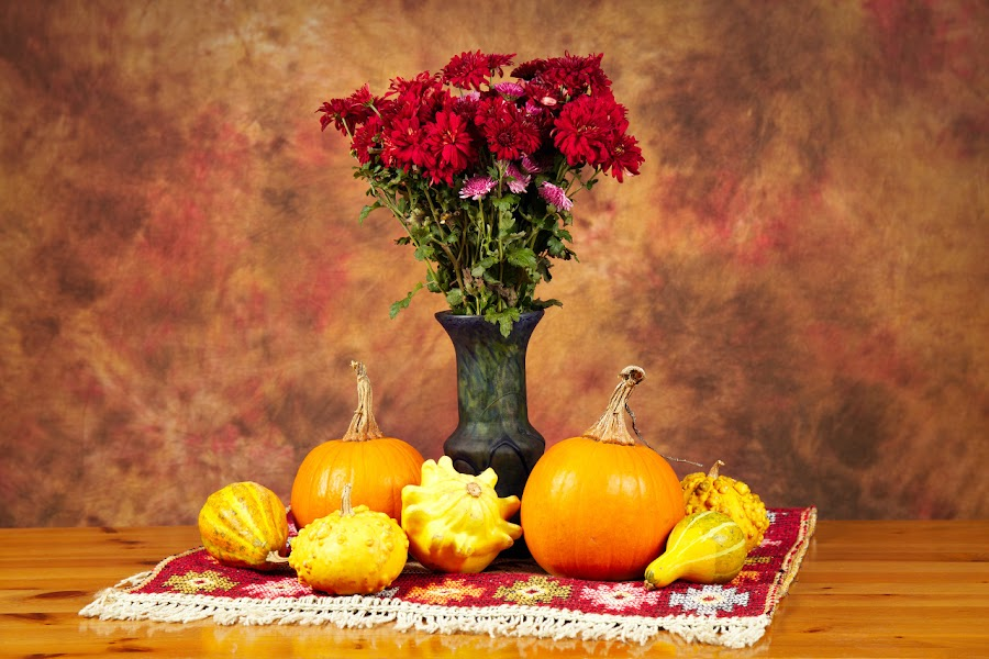Still life with flowers and pumpkins by Nicu Buculei - Artistic Objects Still Life ( stilllife, autumn, pumpkin, still life, pumpkins, fall, flowers )