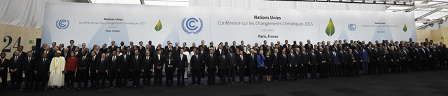 More than 150 world leaders pose for 'Paris 2015 family photo' at the beginning of the COP21 climate conference in Le Bourget, Paris, 30 November 2015. Photo: Martin Bureau / AFP / Getty Images