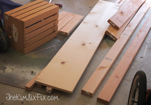 Lumber for wooden bench