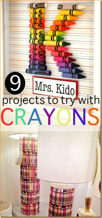 9 Amazing Crayon Crafts - Such cute crayon crafts for kids of all ages. These are great to use up extra crayons or when crayons are cheap in post back to school sales.