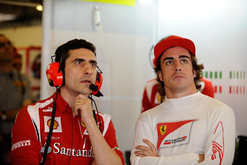 удивленный Андреа Стелла и Фернандо Алонсо на Гран-при Абу-Даби 2011