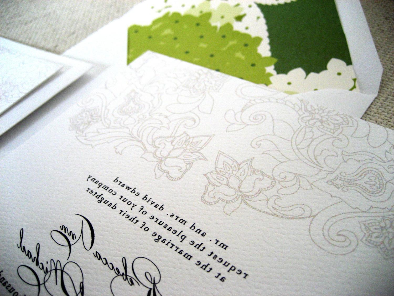 SAMPLE A Fresh Green Wedding Invitation Suite. From TheWoolberryPress