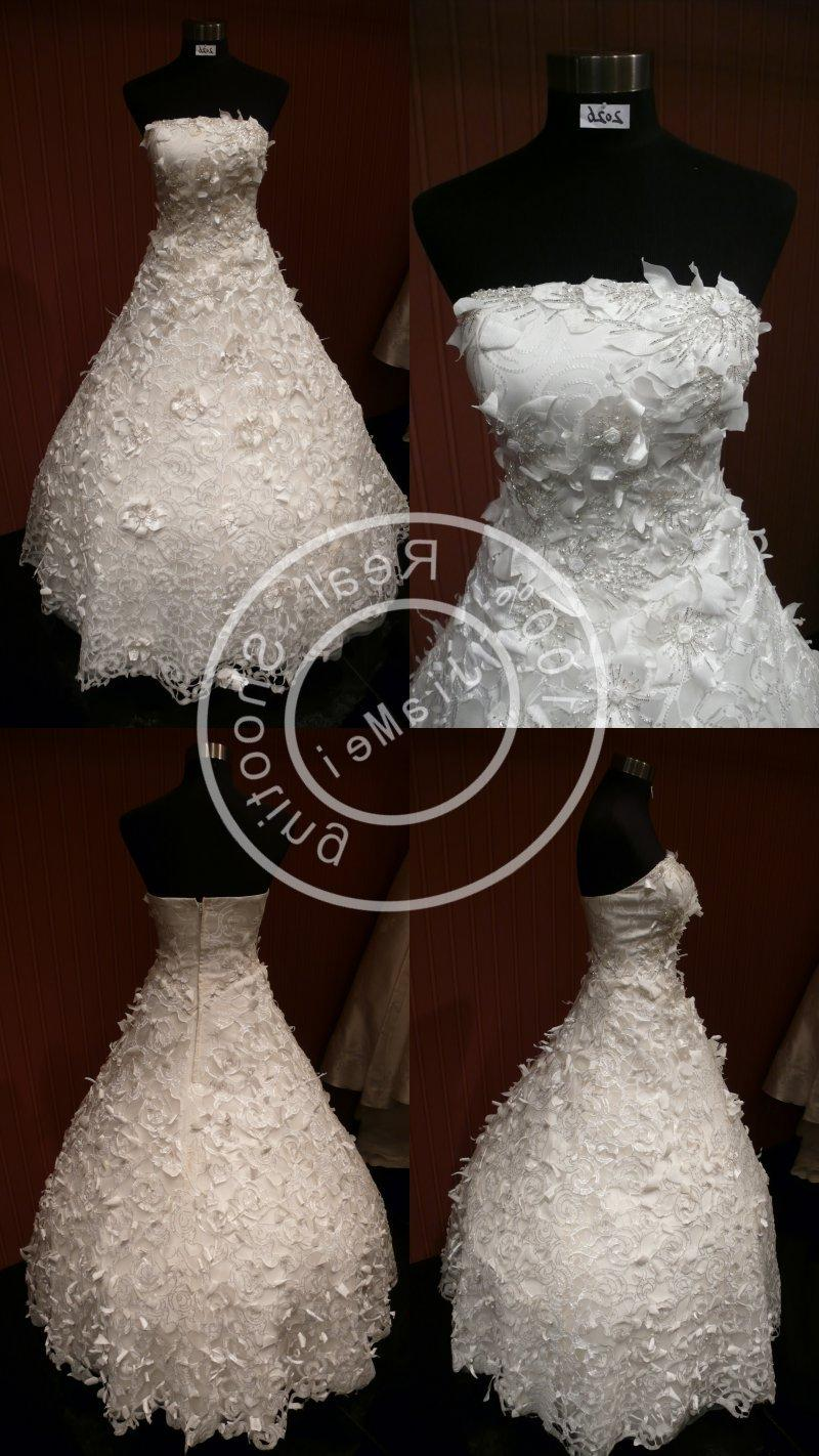 bridal gown ruched lace