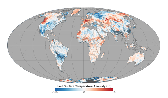 This map shows the global picture of land surface temperature anomalies for 30 June 2015 to 9 July 2015. Note how temperatures were also significantly above normal in the Pacific Northwest of North America, in the mid-section of Africa, and in a long stretch from central Asia to northeast Siberia. Temperatures on the surface of Greenland were above normal, while cooler than normal weather settled in across Arctic Russia and Scandinavia. Much of the continental United States experienced mild temperatures. Graphic: Jesse Allen / MODIS Science Team