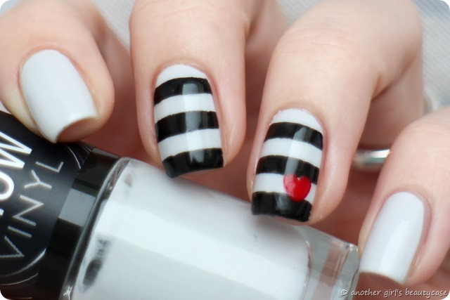 Nailartapr Challenge Pop of color heart nautical black and white nailart nail art_