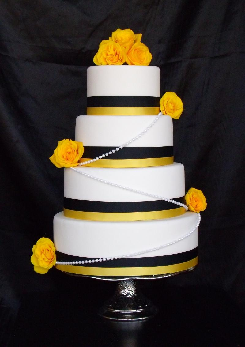 Black and Yellow Wedding Cake