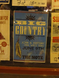 Big Country poster at The Note, in West Chester, PA