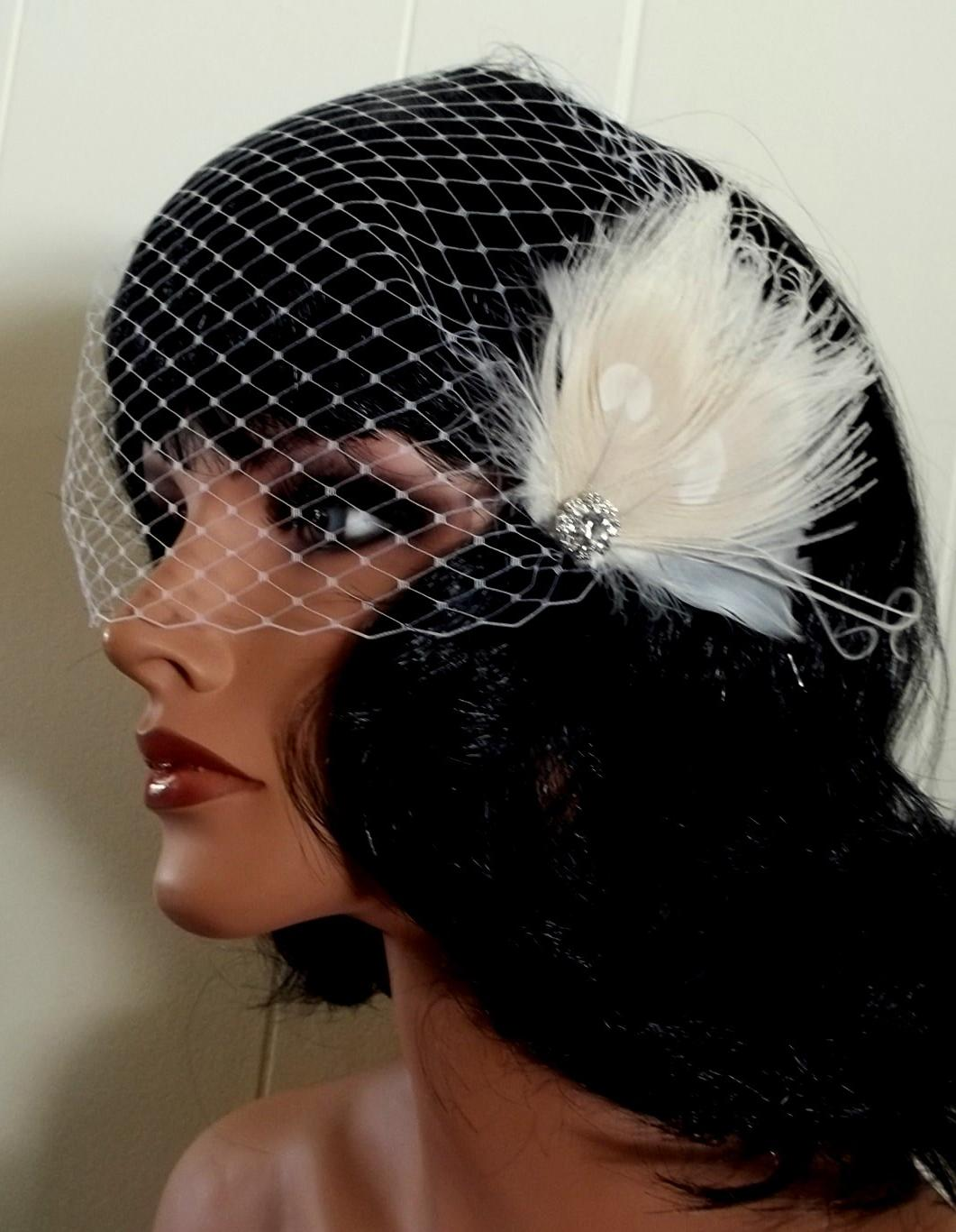 Bridal fascinator ivory peacock feather and rhinestone and French Net
