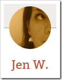 Jen W., writer of Peculiar and Co.