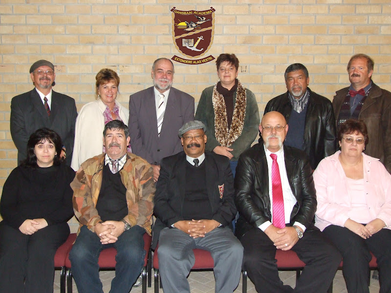 L to R (Front) L.Mostert, A.Malan(chair), T.Wilson(principal), L.Otto(vice-chair), A.Buys <br>(Back) D.Roux, A. Swart, E. Nieuwoudt, M.Smit, M. Hess, D.Blood <br>(Absent)J. Anderson, E.Schnidt