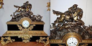 """Большие каминные часы. """"На охоте"""" ок.1870 г. Бронза, патина, позолота, чёрный мрамор. 72/24/64 см. 5500 евро."""
