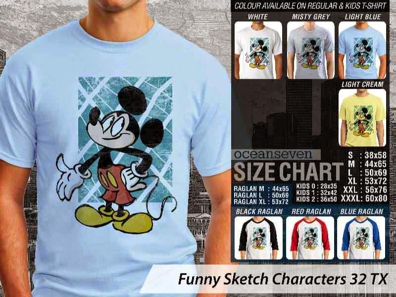 Kaos Kartun Lucu Funny Sketch Characters 32 mickey mouse distro ocean seven