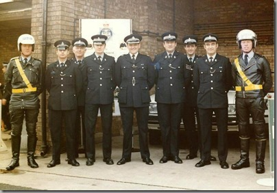 Many Thanks to Roy Smith for sending the above photos which were both were taken in the rear yard at Bishop Auckland Police Office in October 1983 when the station threw open its doors for an open day.Officers in the  group photograph from the Traffic Department are L to R: Danny McKie, Roy Smith, Michael French, Alec Francis, Don Moody, Sgt Stuart Oakley, Dave Surtees, ? and finally Tommy Fortune (Motorcycles). The patrol car, was A687XCN a Ford Granada call sign Mike 20 Papa (M20P), formerly Alpha Red 40 (AR40)