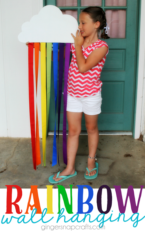Rainbow Wall Hanging at GingerSnapCrafts.com #offray   #ribbon #sponsored