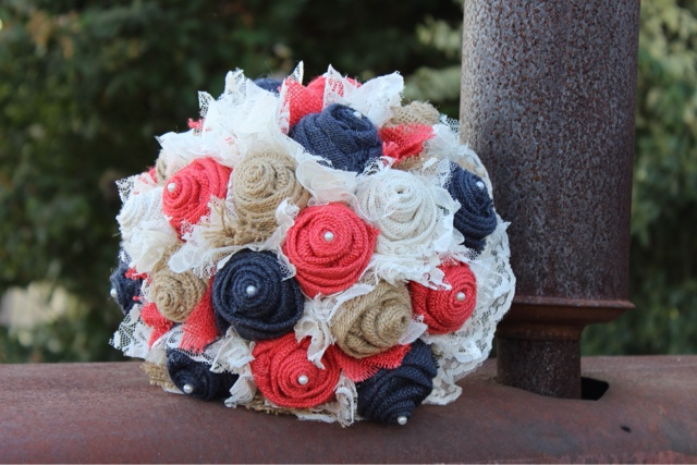 coral and navy burlap bridal bouquet