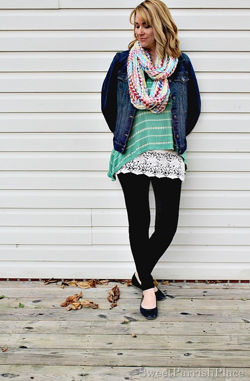 black-leggings-denim-jacket-green-striped-tank-lace-extender-scarf1
