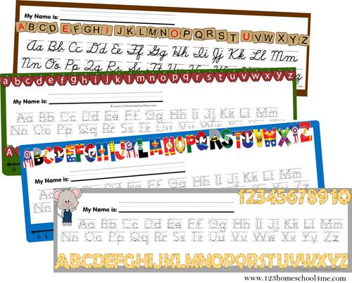 free printable alphabet desk carts (various styles)