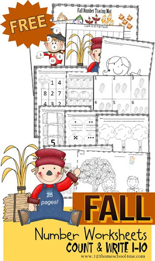 math worksheet : fall counting worksheets preschool  kindergarten  : Fall Worksheets Kindergarten