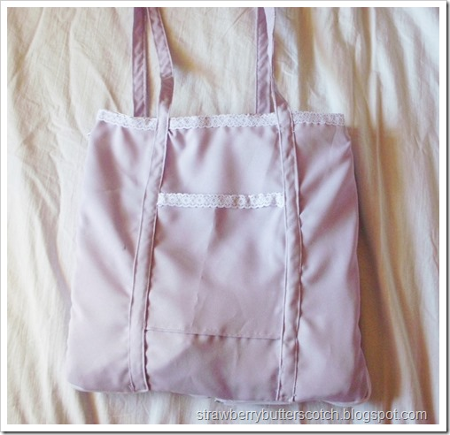 Purple Expandable Tote Bag with Lace