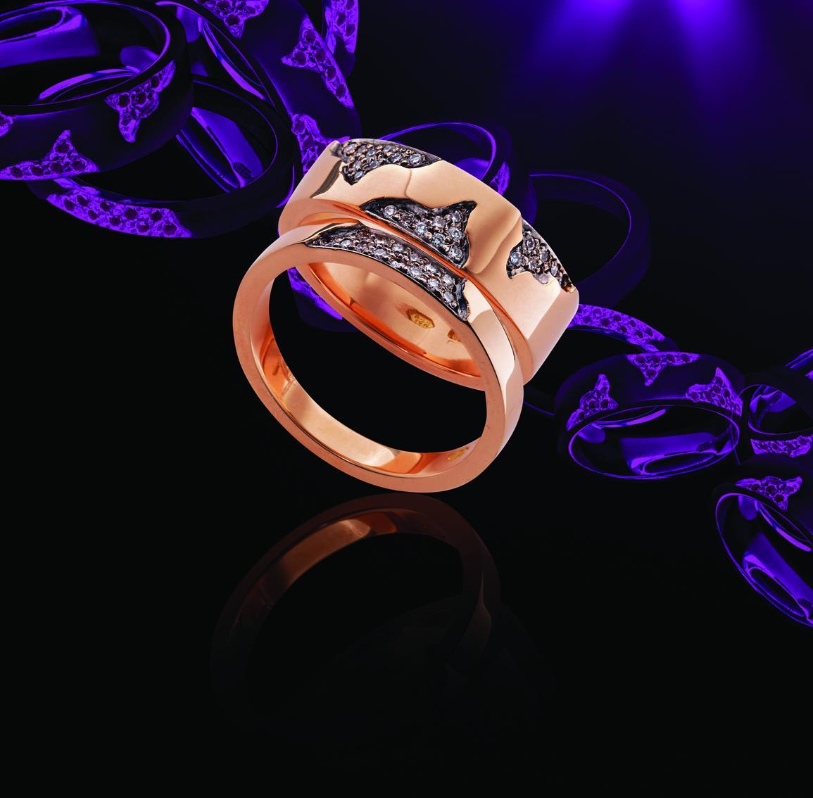 18ct rose gold black diamond