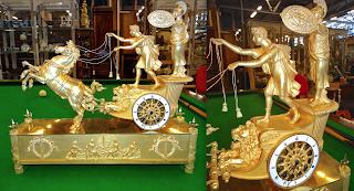 """Изумительные антикварные часы в стиле АМПИР. """"Колесница Телемаха"""" ок.1800 г. Позолоченная, резная бронза. Оригинальное золото, без реставрации. Прекрасное рабочее состояние. Обслужены. 50/14/46-высота. 19000 евро."""