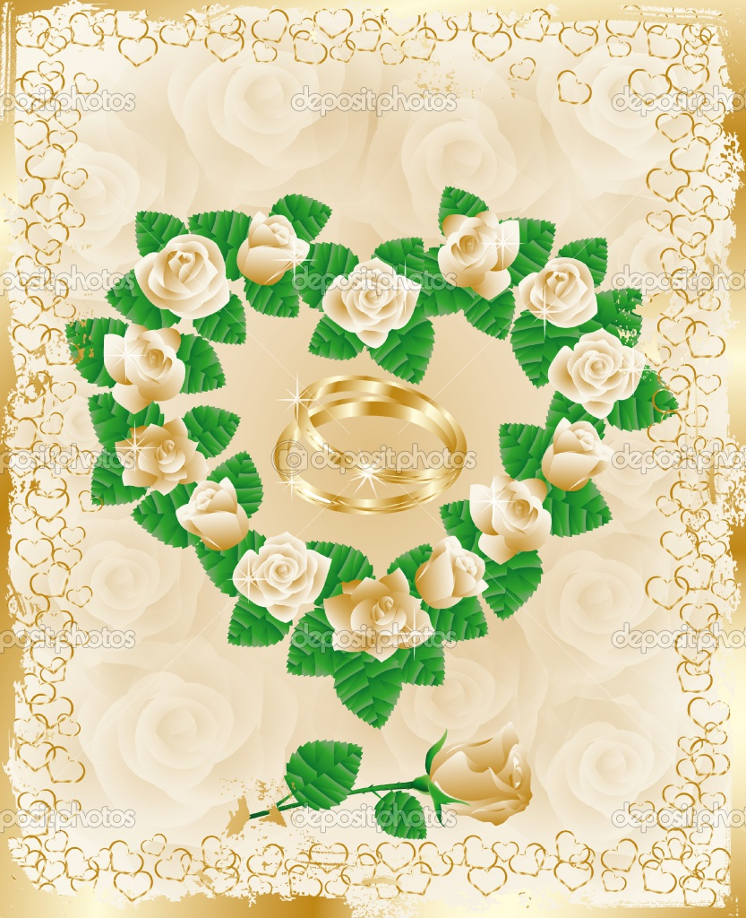 Wedding card with golden