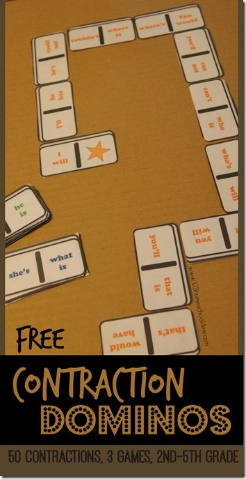 FREE Contraction Dominos Educational Game for 2nd grade, 3rd grade, 4th grade, 5th grade. This is such a fun, hands on learning game for learning contractions. Perfect for centers, homeschool, after school, and summer learning.