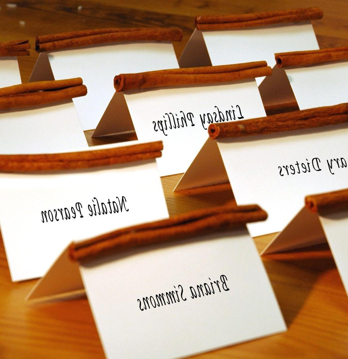 Image 3 of 39. Cinnamon stick place cards are a great holiday or fall touch