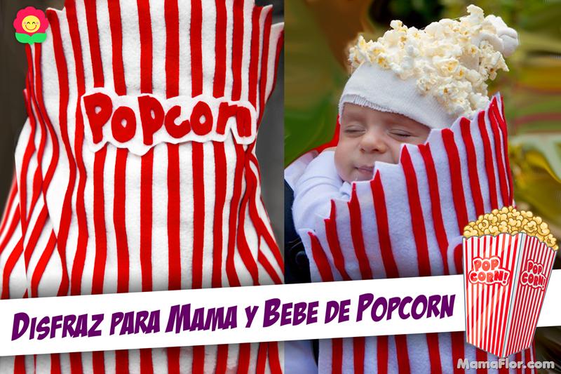 Halloween: Disfraz para Mamá y Bebé de Pop-corn (Palomitas de maíz)