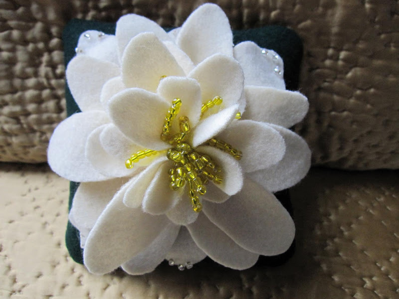Wedding Ring Pillow Green Yellow Ivory Water Lily Flower title=