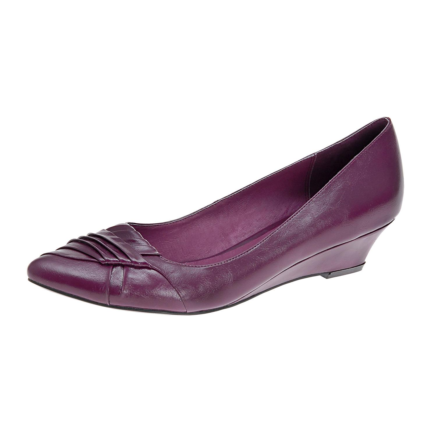 monics blog purple wedge wedding shoes