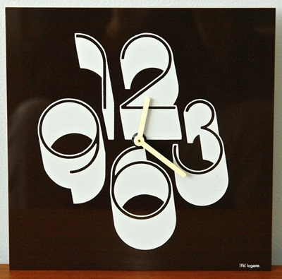 l'Art Logerie smoke lucite wall clock front