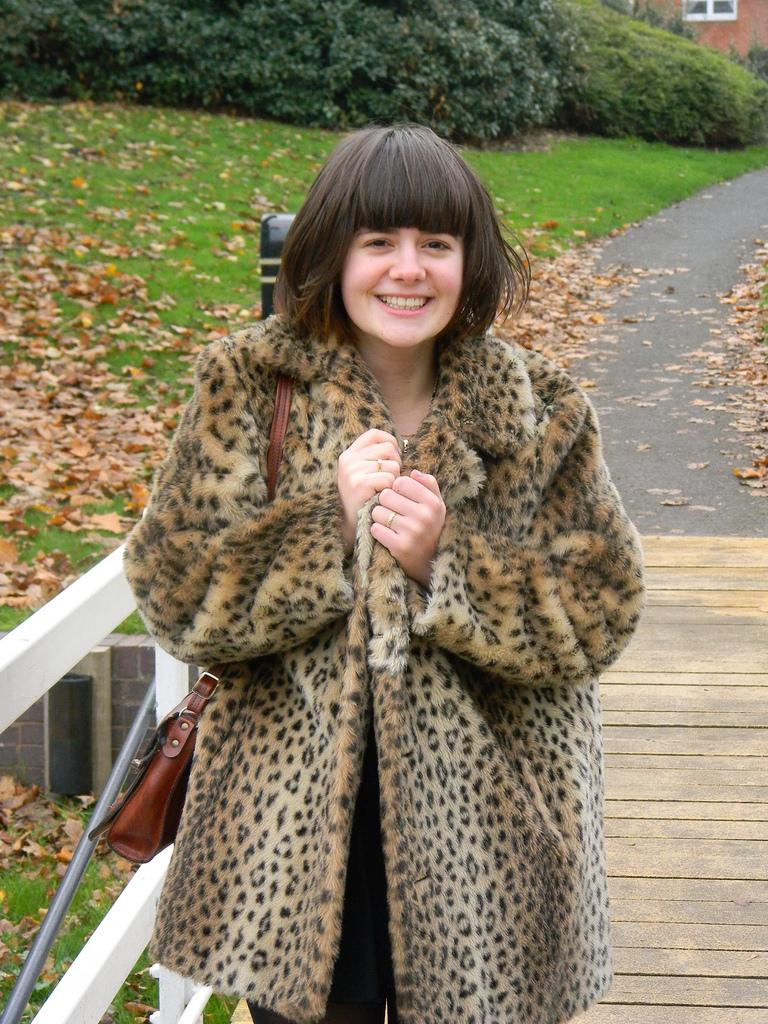 Leopard print faux fur coat: