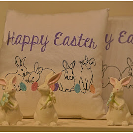 Happy Easter Pillows  by Lorraine D.  Heaney - Public Holidays Easter