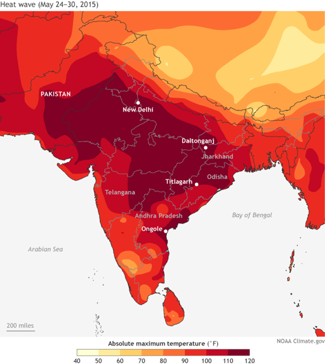 Hottest daytime high temperature during the week May 24-30, 2015. NOAA Climate.gov map by Fiona Martin, based on interpolated weather station data provided by the India Meterological Department. Graphic: Fiona Martin / NOAA